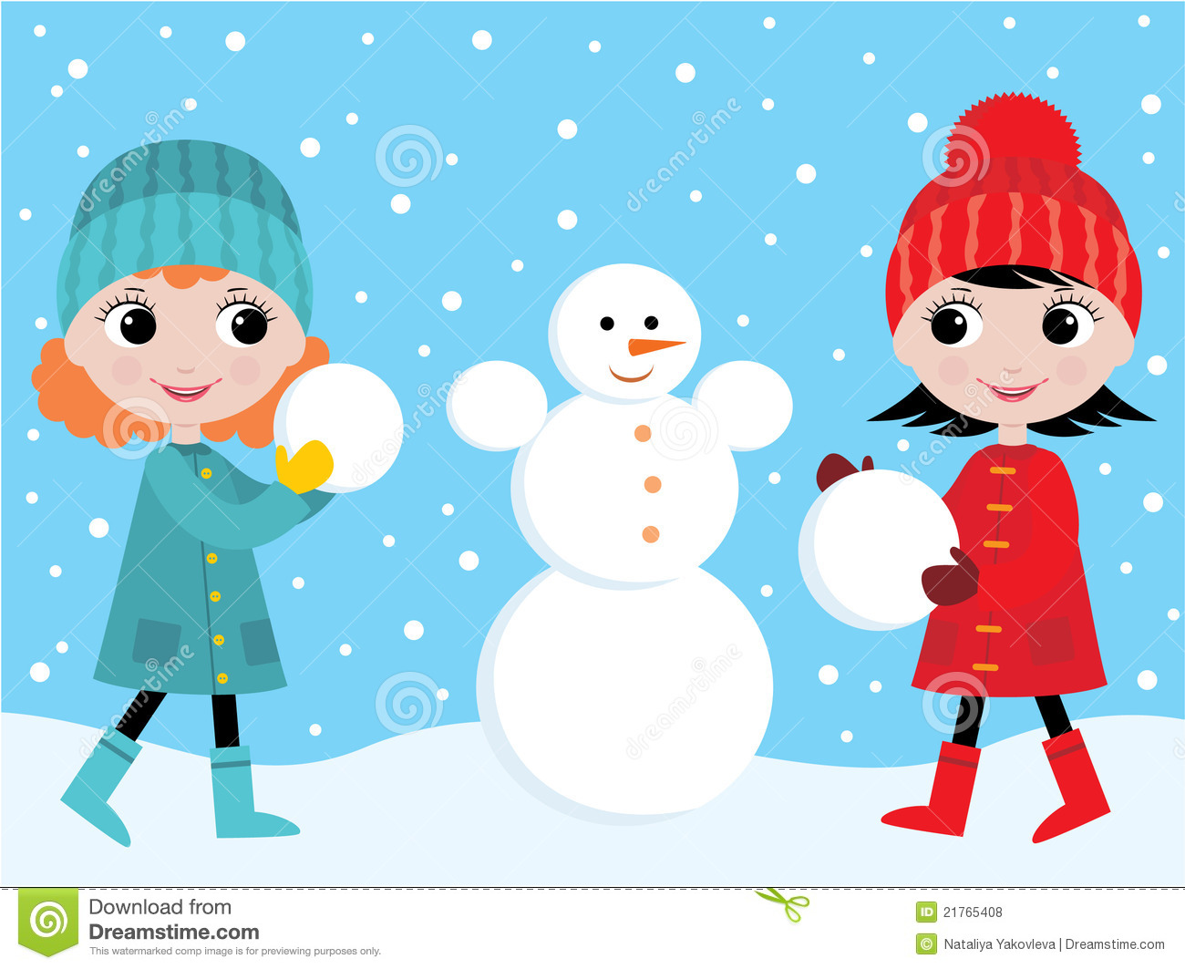 Little Girls Build The Snowman Royalty Free Stock Photos - Image ...