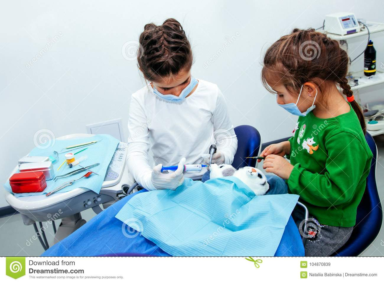 Treatment office children dentist teeth small girl teen red doctor new year discount woman clean clinic quietly comfortably