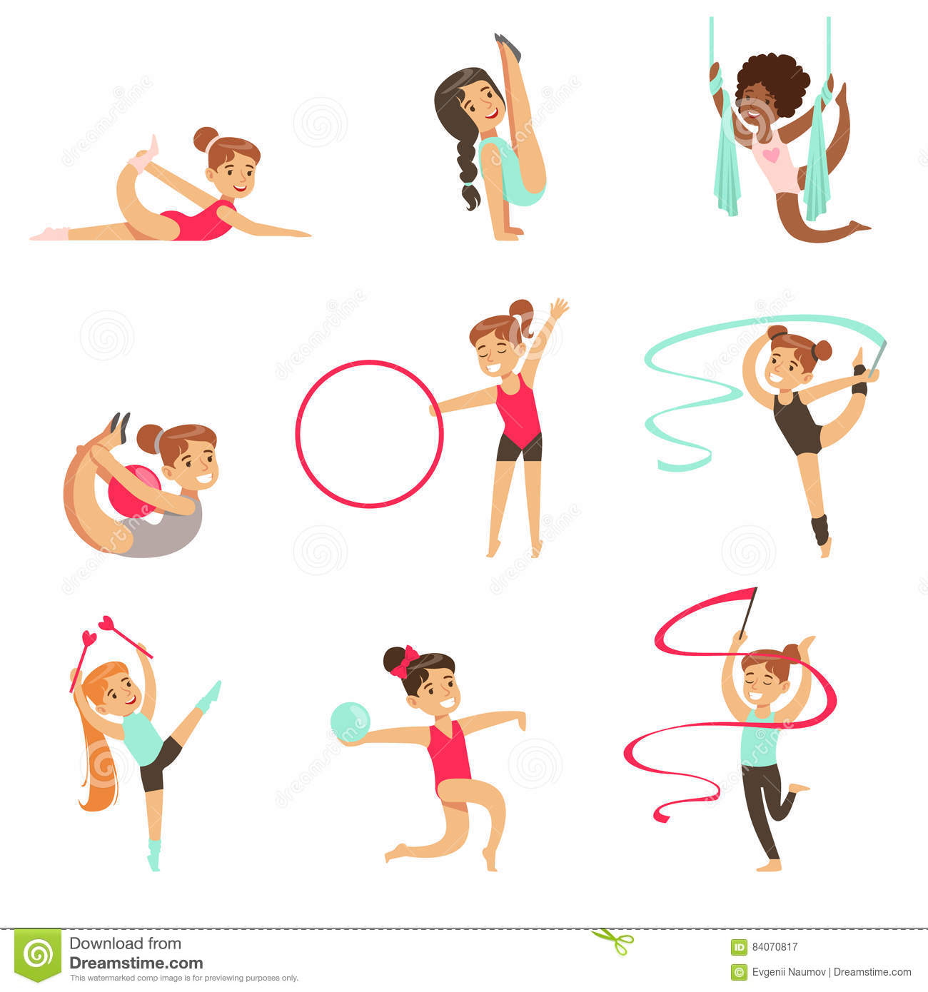 Little Girls Doing Gymnastics And Acrobatics Exercises In Class Set Of Future Sports Professionals