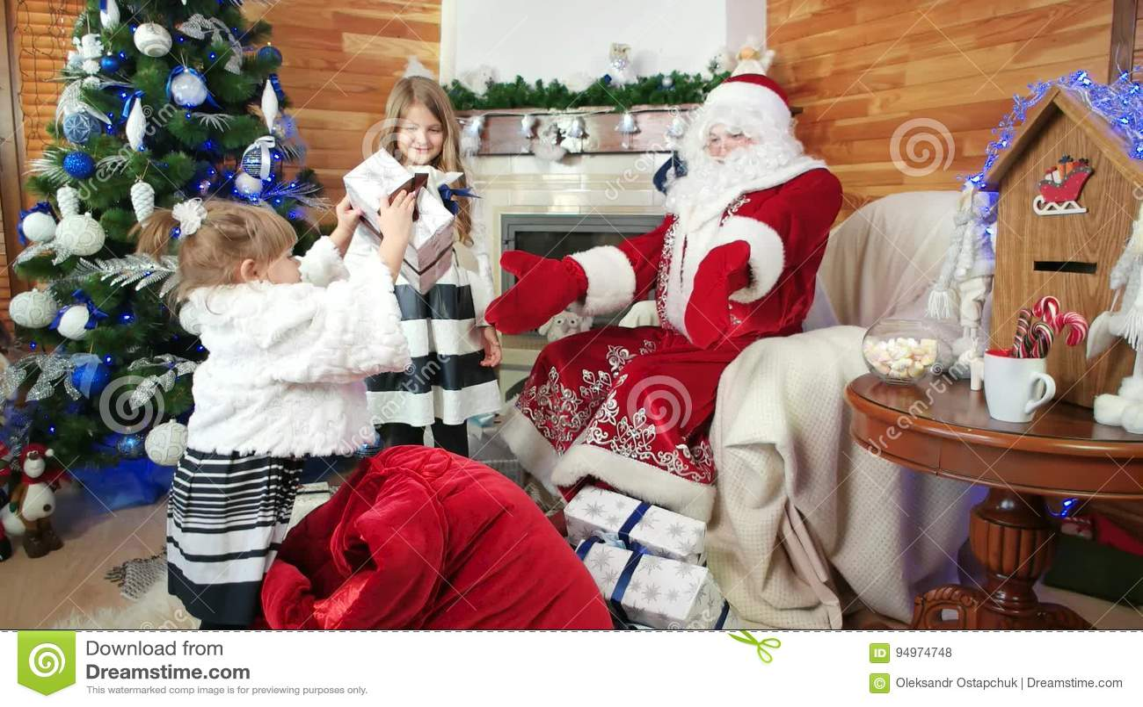 Little Girls Help Santa With Christmas Gifts, Saint Nicolas Winter ...