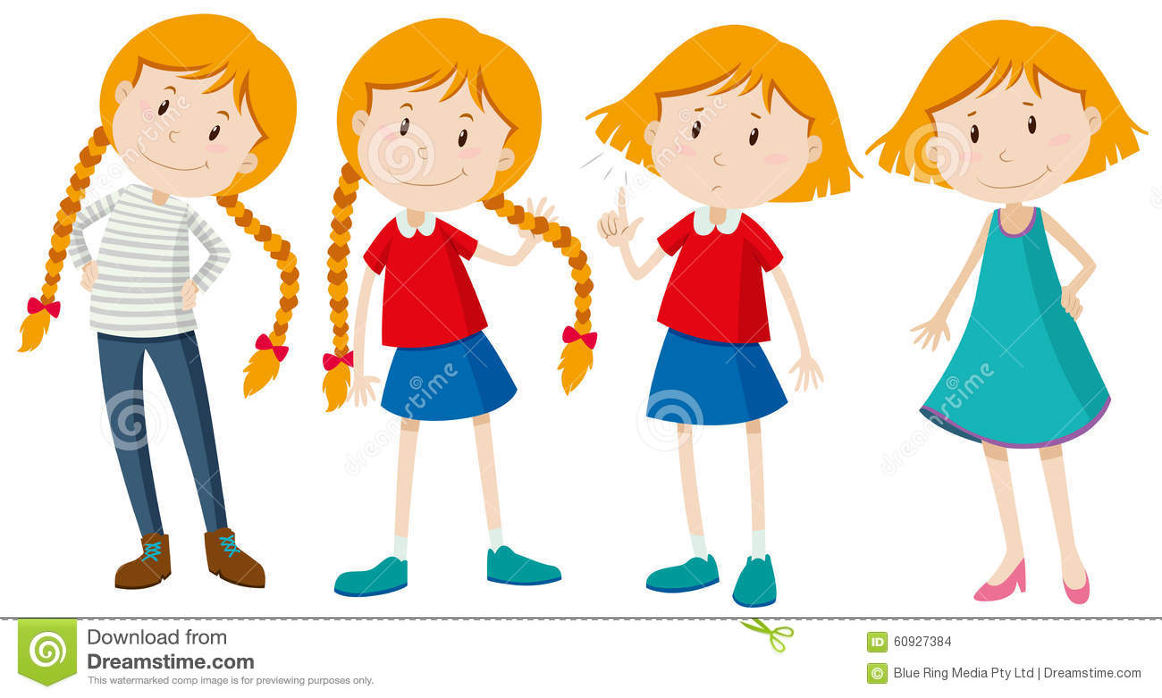 Little Girls With Long And Short Hair Stock Illustration Illustration Of Happy Short 60927384
