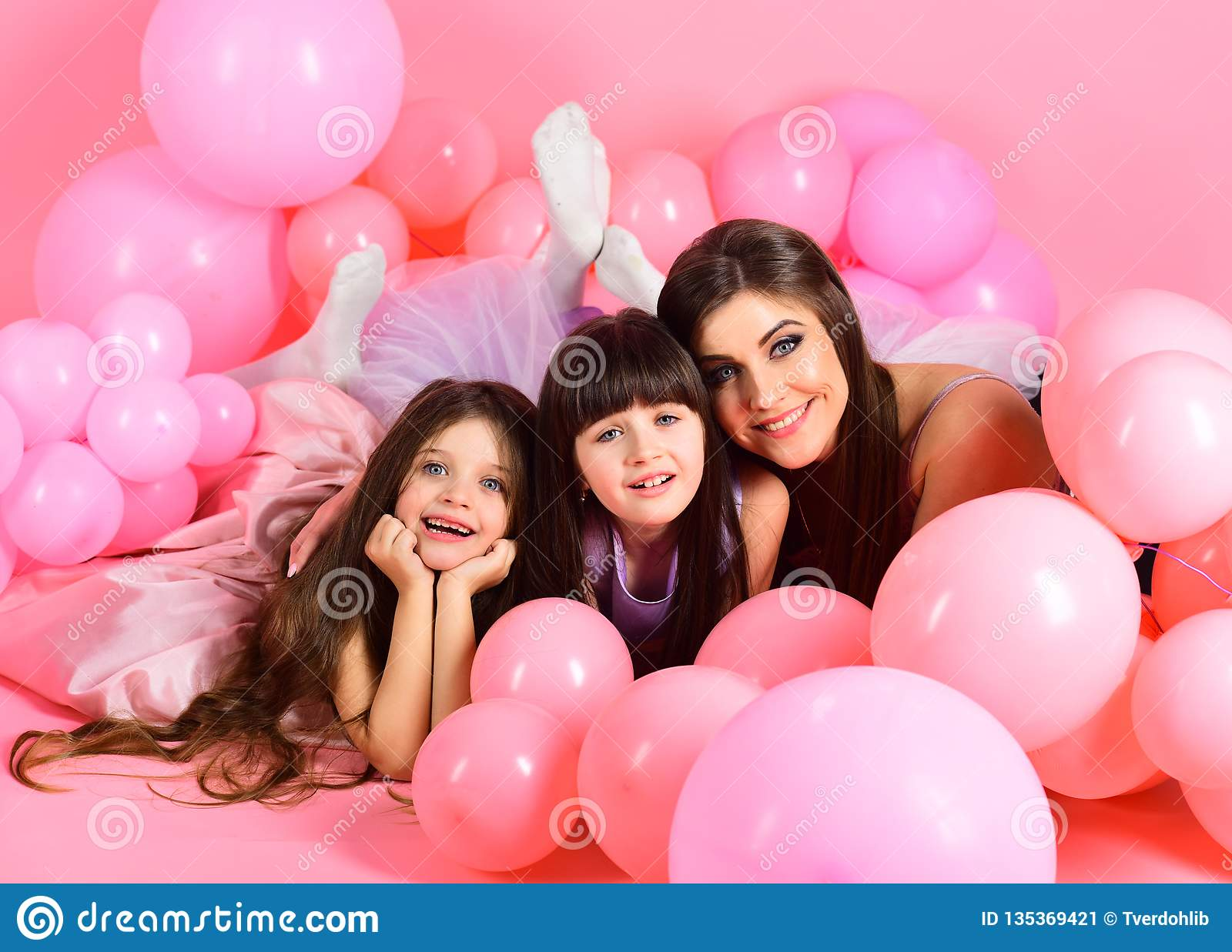 Little Girls Mom In Pink Balloons