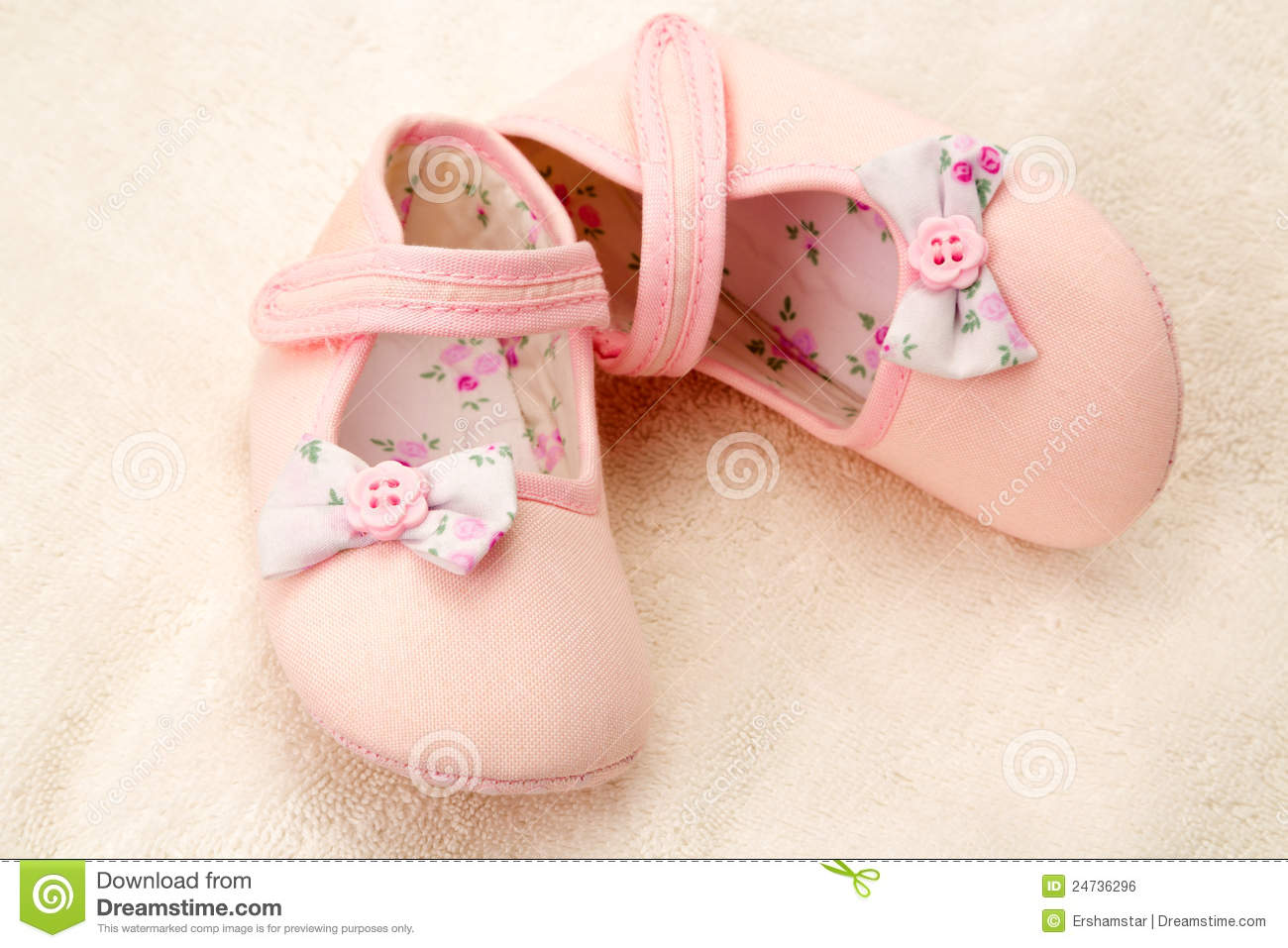 Little Girls Pink Baby Shoes Stock Image of