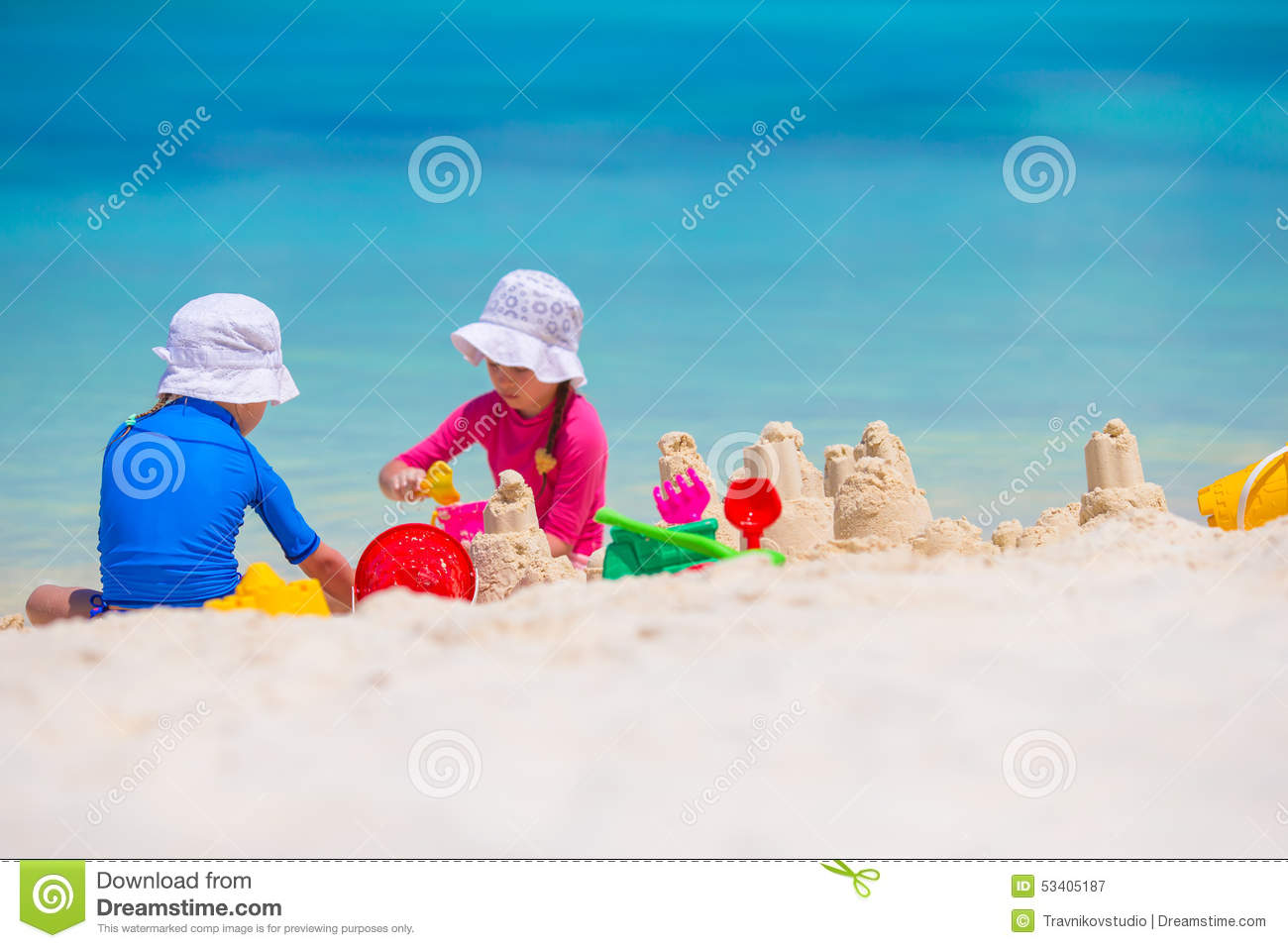 Beach Toys For Girls : Little girls playing with beach toys during stock photo