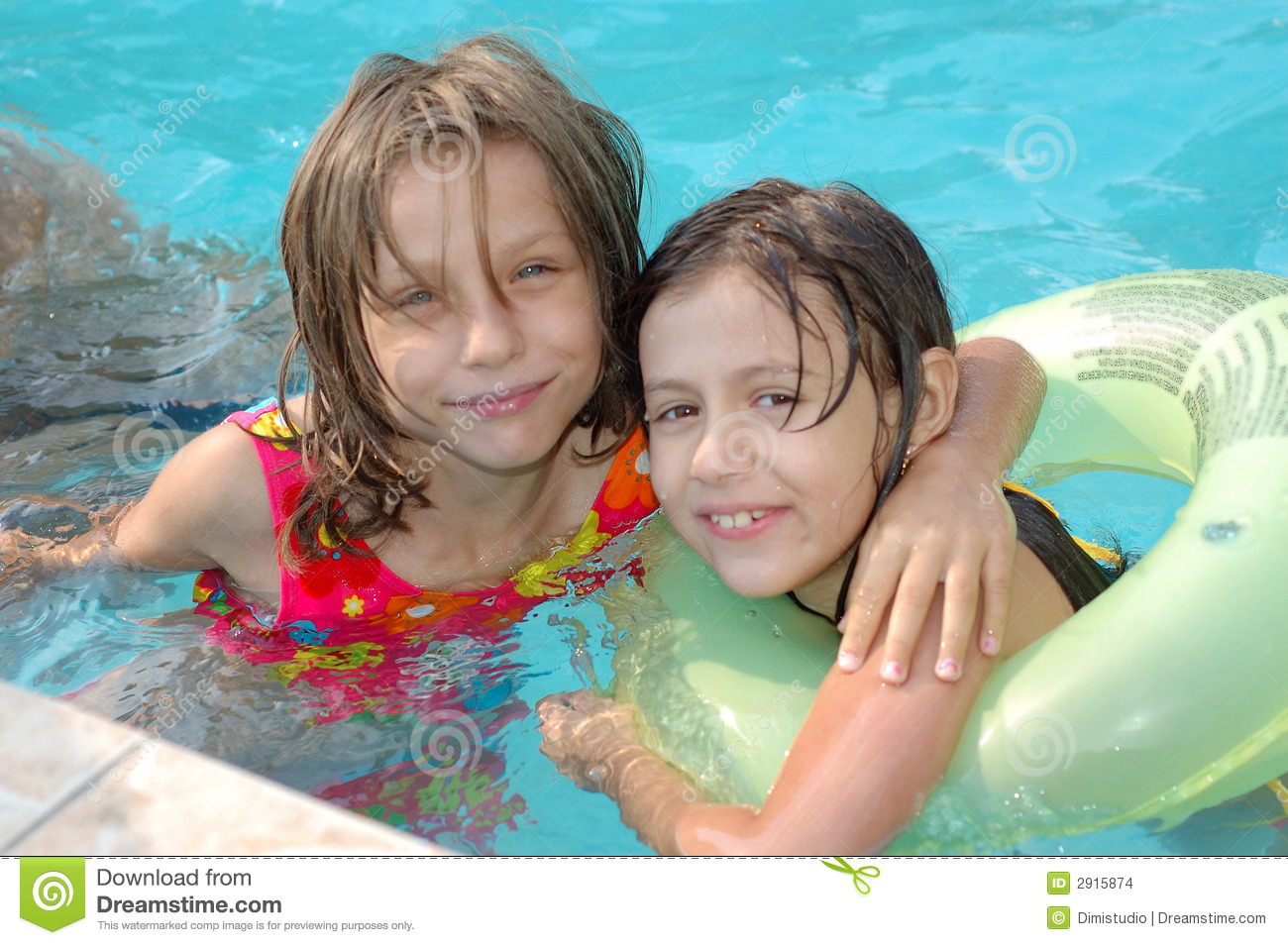 Little Girls In The Pool Stock Photo Image Of Learn Pool