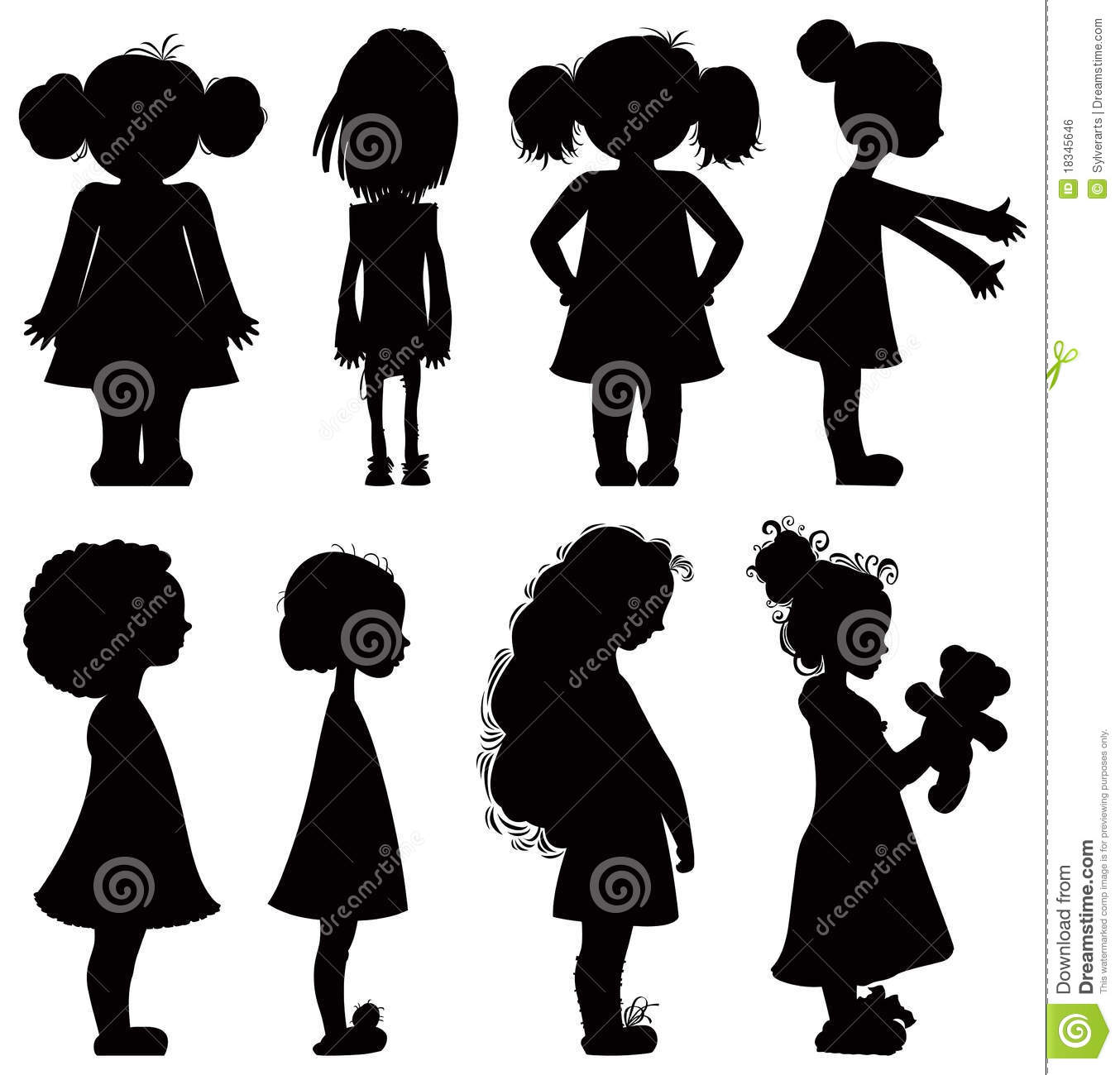 Little Girls Silhouettes Set Royalty Free Stock Image
