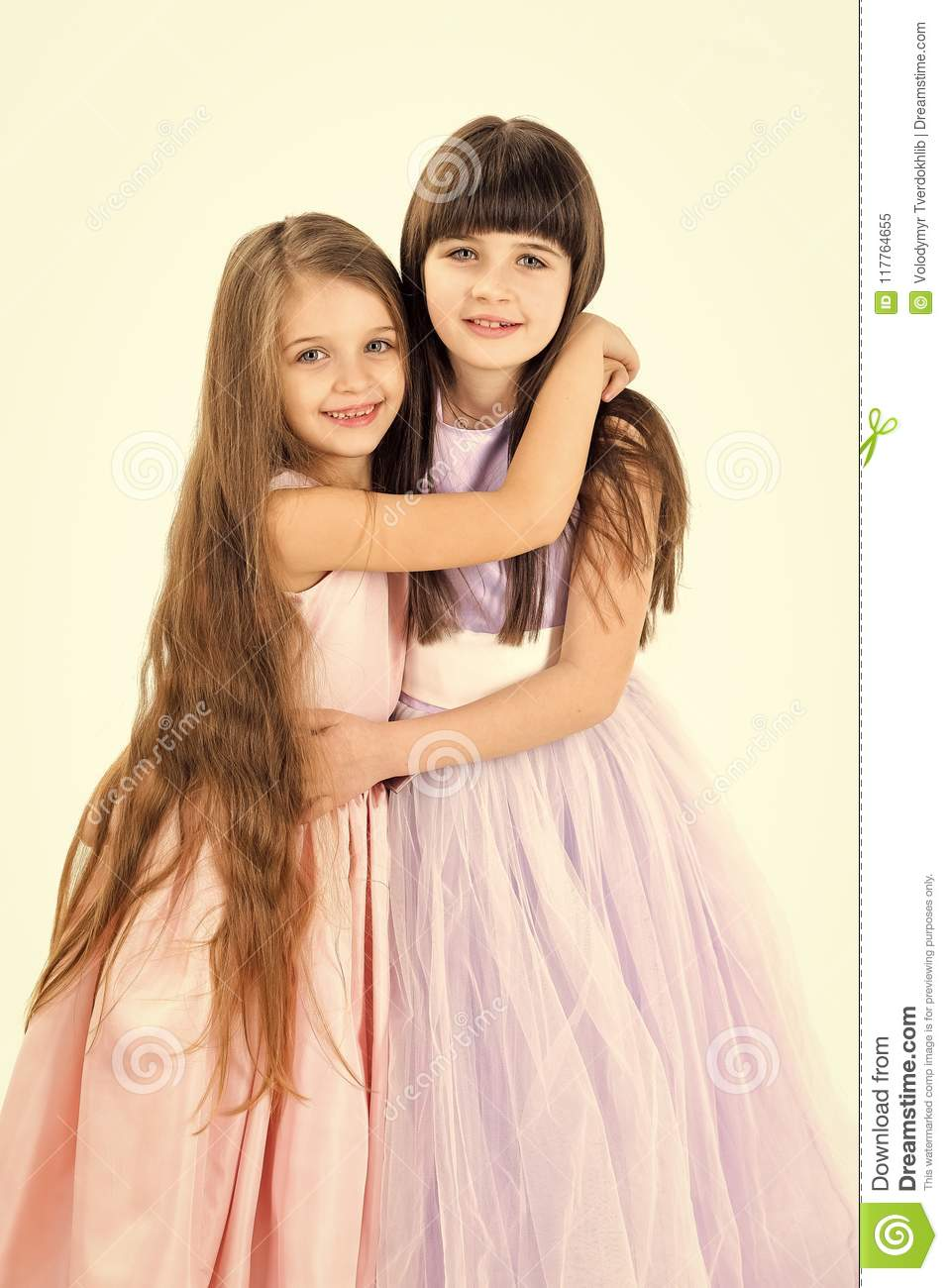 Little Girls Sister With Long Hair Isolated On White Stock Image