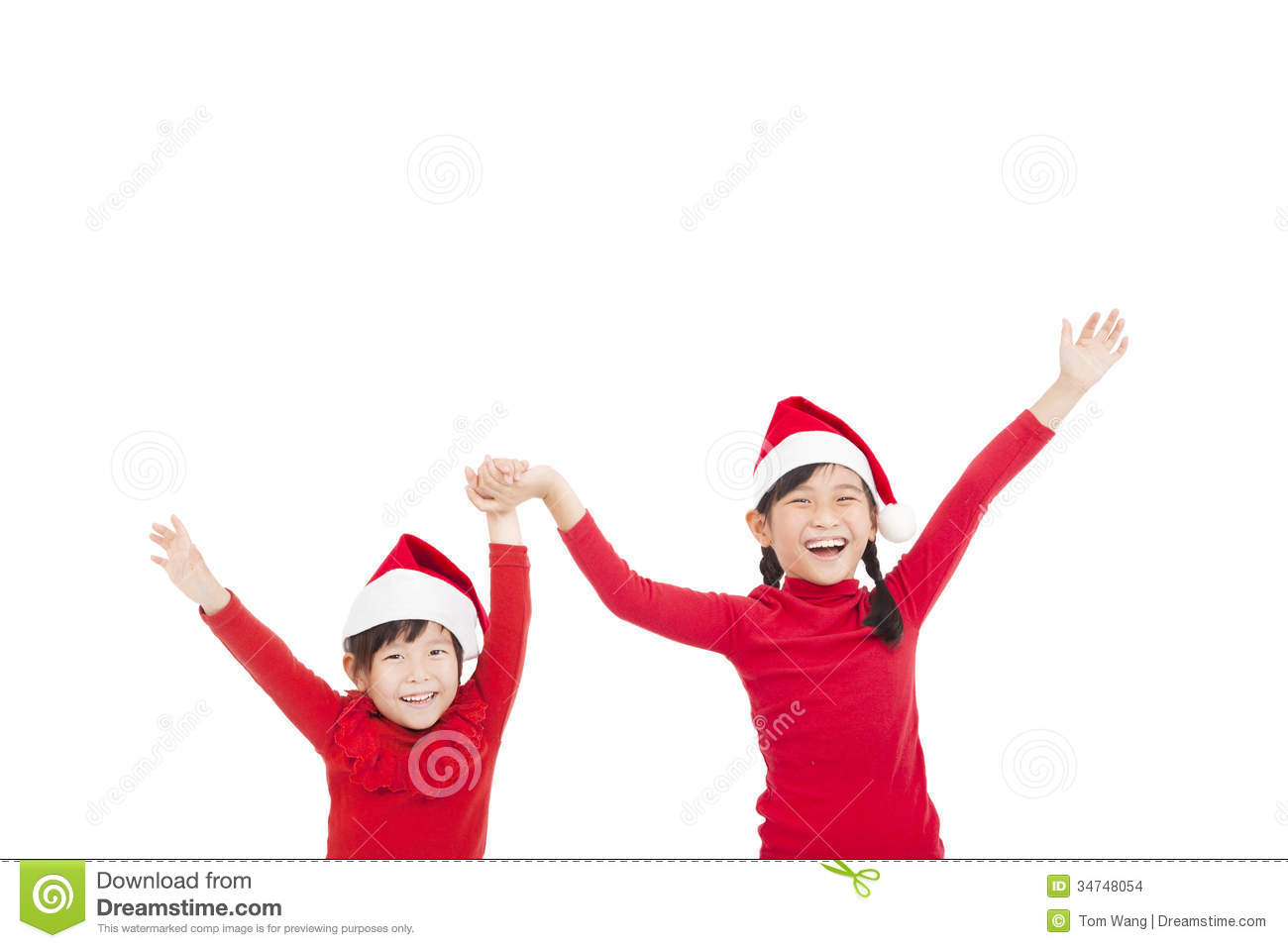 Little girls wearing red christmas hat stock images image 34748054
