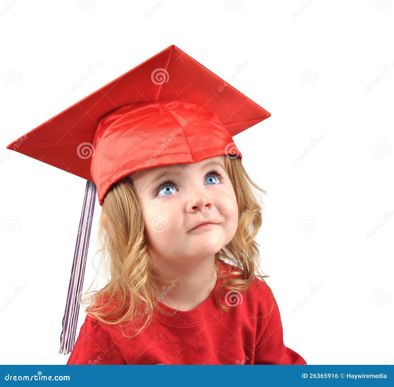 little graduate school baby on white royalty free stock