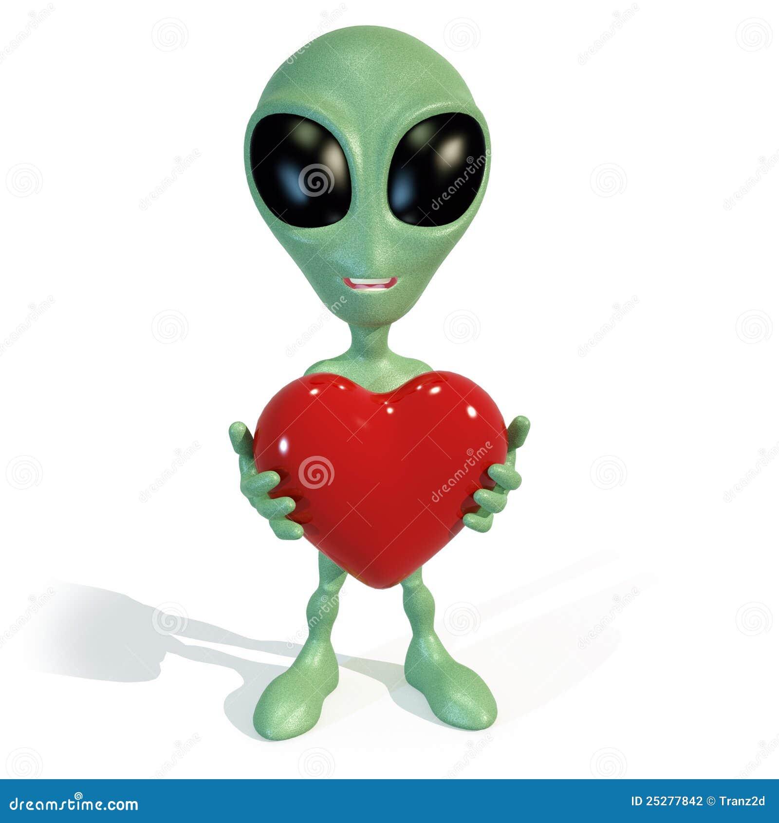 little green alien holding a red heart stock illustration
