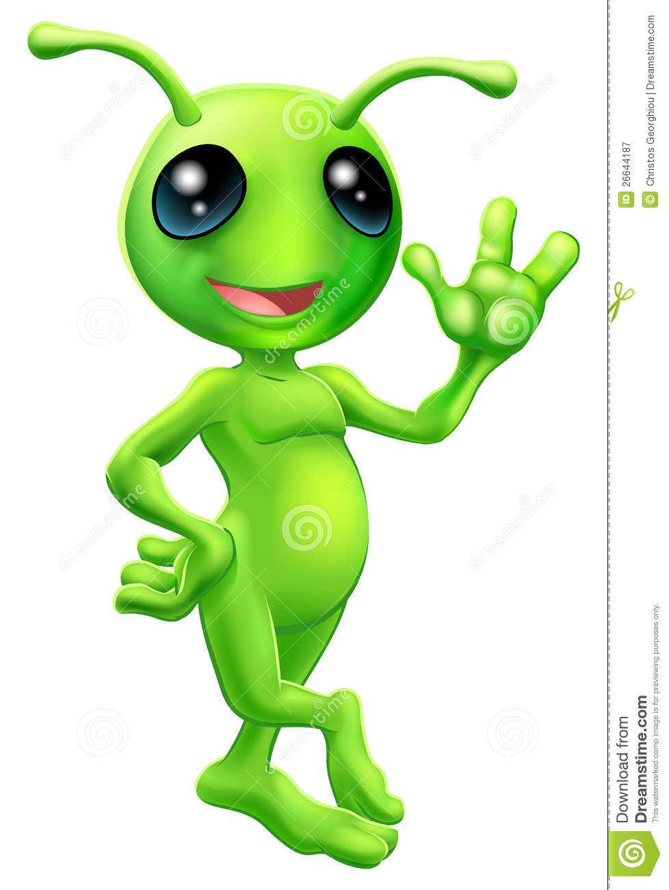 ... little green man alien mascot with antennae smiling and waving