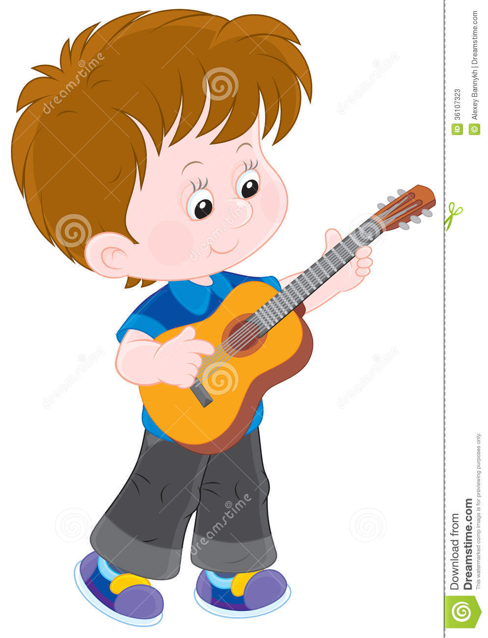 Little guitarist stock vector. Illustration of preschool ...