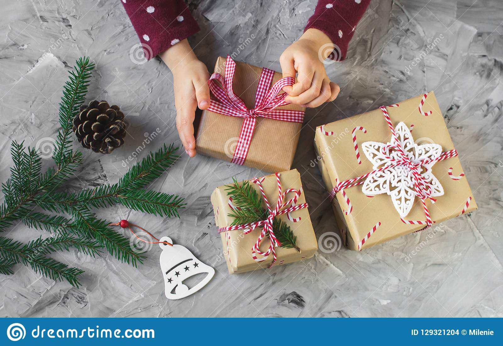 Little Hands Baby Girl Holding Christmas New Year Gift Box ...