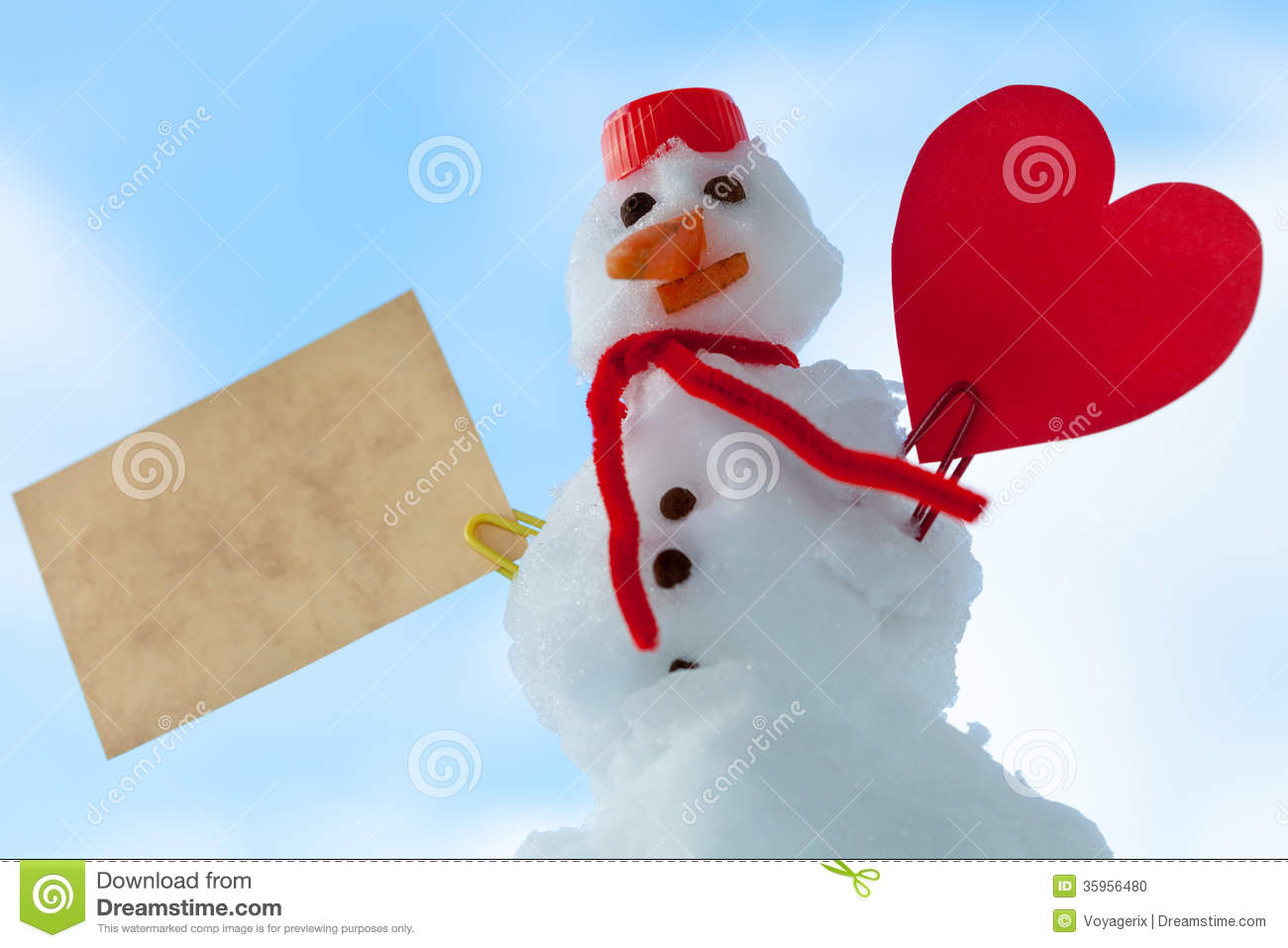 Snowman symbol text image collections symbol and sign ideas little happy christmas snowman red heart paper card outdoor royalty free stock photo buycottarizona biocorpaavc