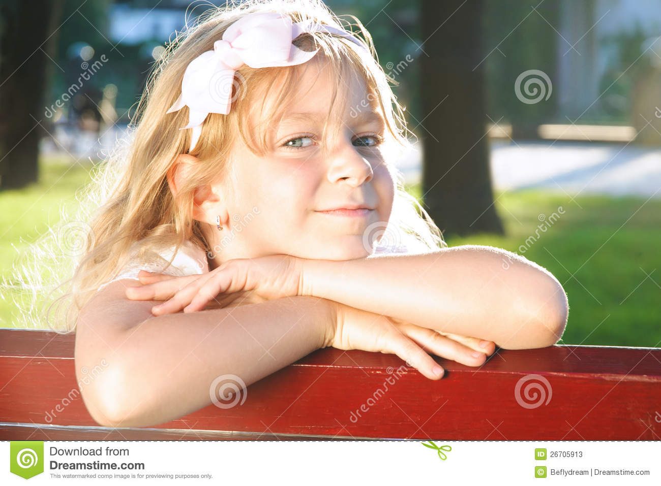 Little Happy Girl Relaxing In Summer Park Stock Image Image 26705913