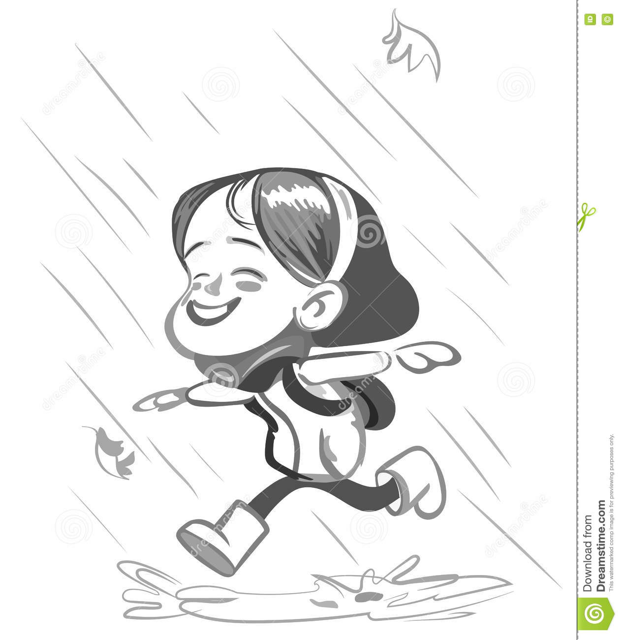 little happy girl running in the rain vector stock vector illustration of boots rain 81143369 dreamstime com