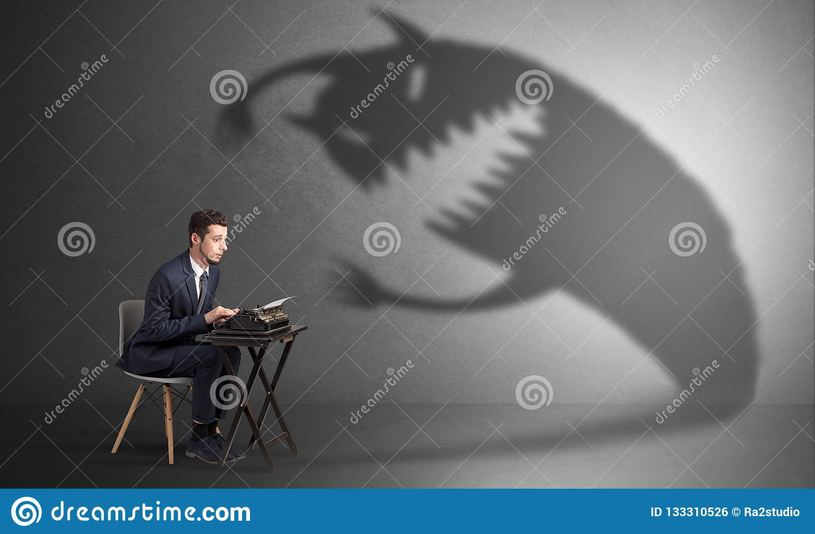 Hard worker afraid of scary monster