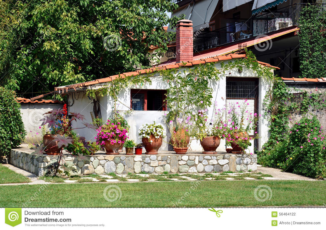 Little House With Garden Stock Photo Image 56464122