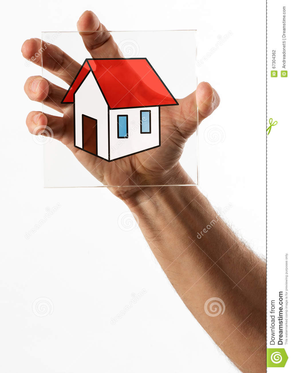 Little House Icon On Glass In Hand Stock Photo Image Of Roof Icon