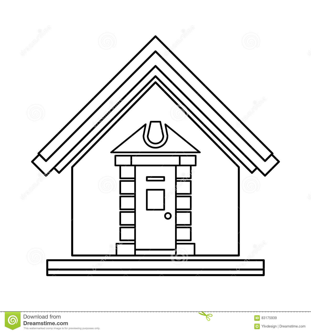 Little House Icon Outline Style Stock Vector Illustration Of Icon