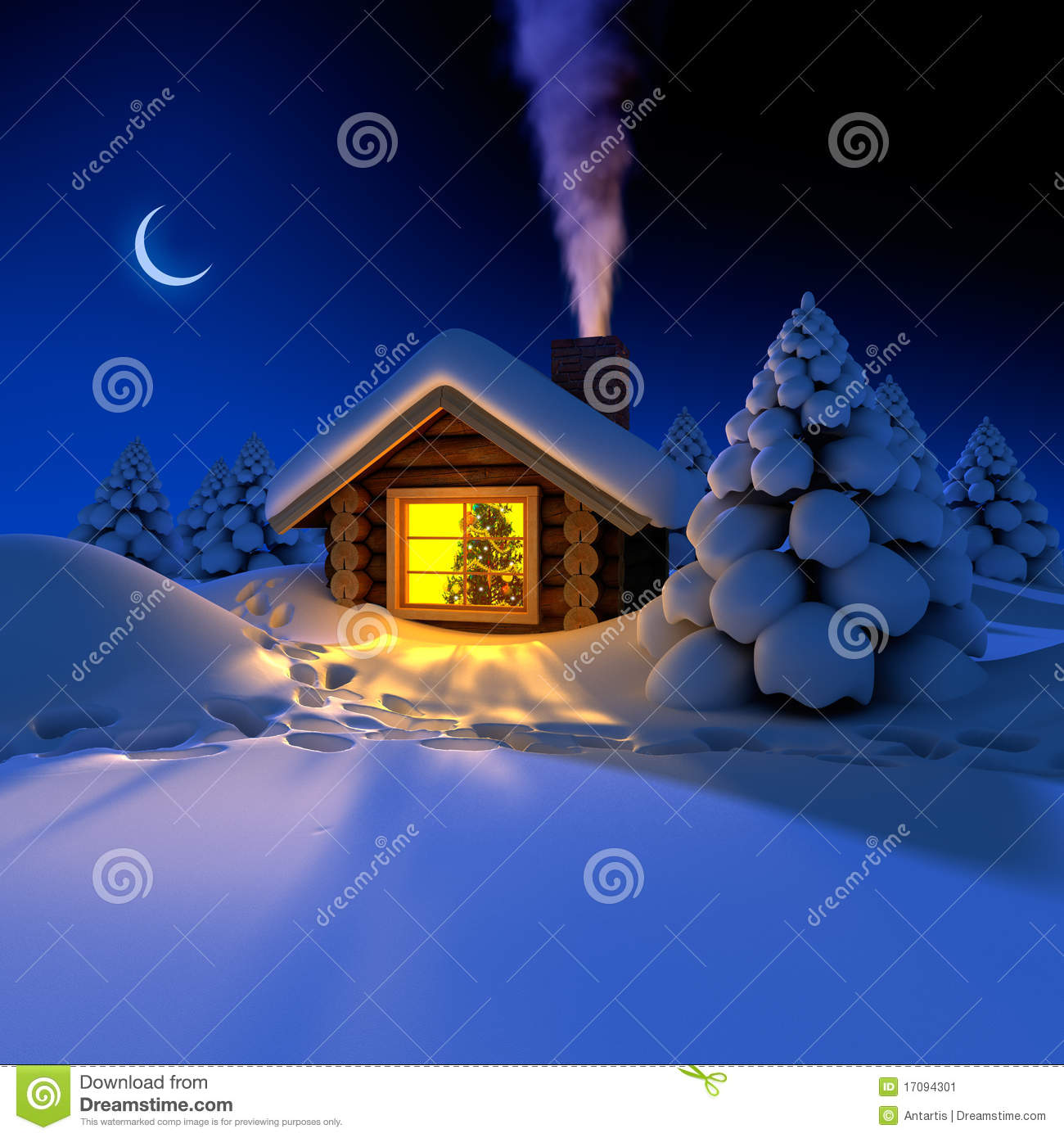 Little House In The Woods On New Year S Night