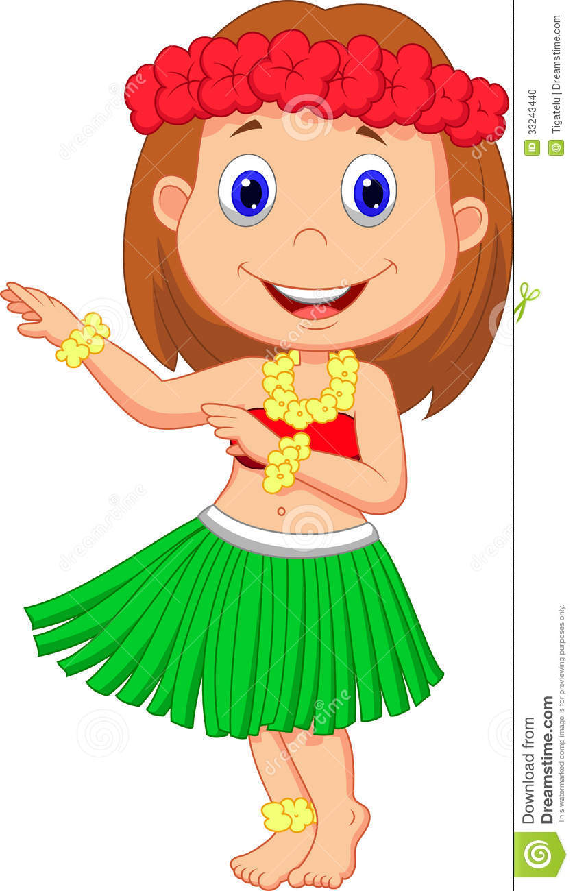 Little Hula Girl Cartoon Stock Photo Image 33243440