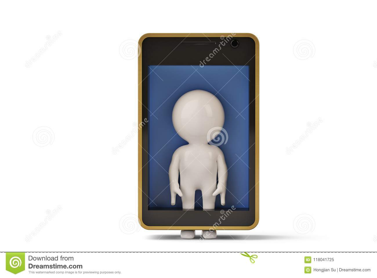A little human character in mobile phone.3D illustration.