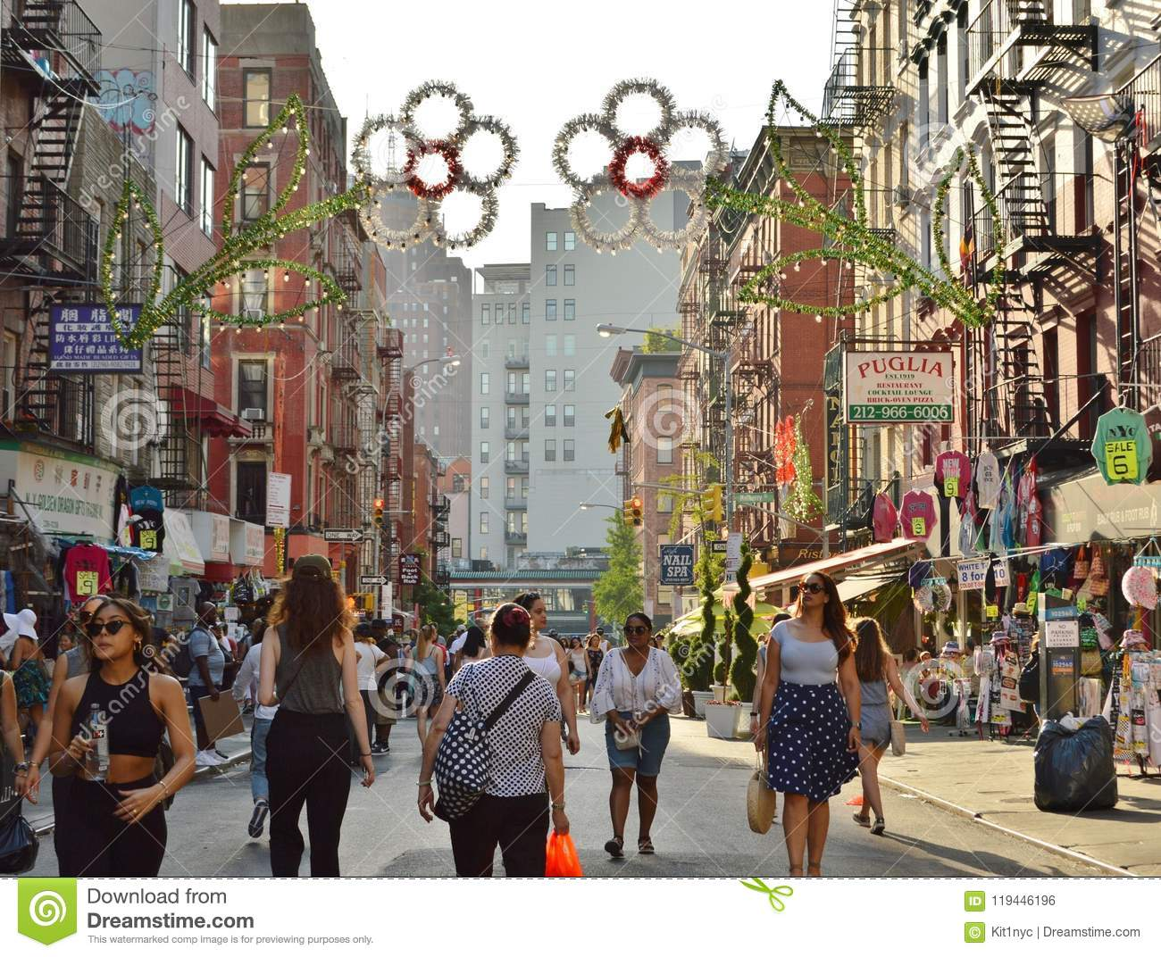 Little Italy Busy Main Street New York City Chinatown Shopping People Walking
