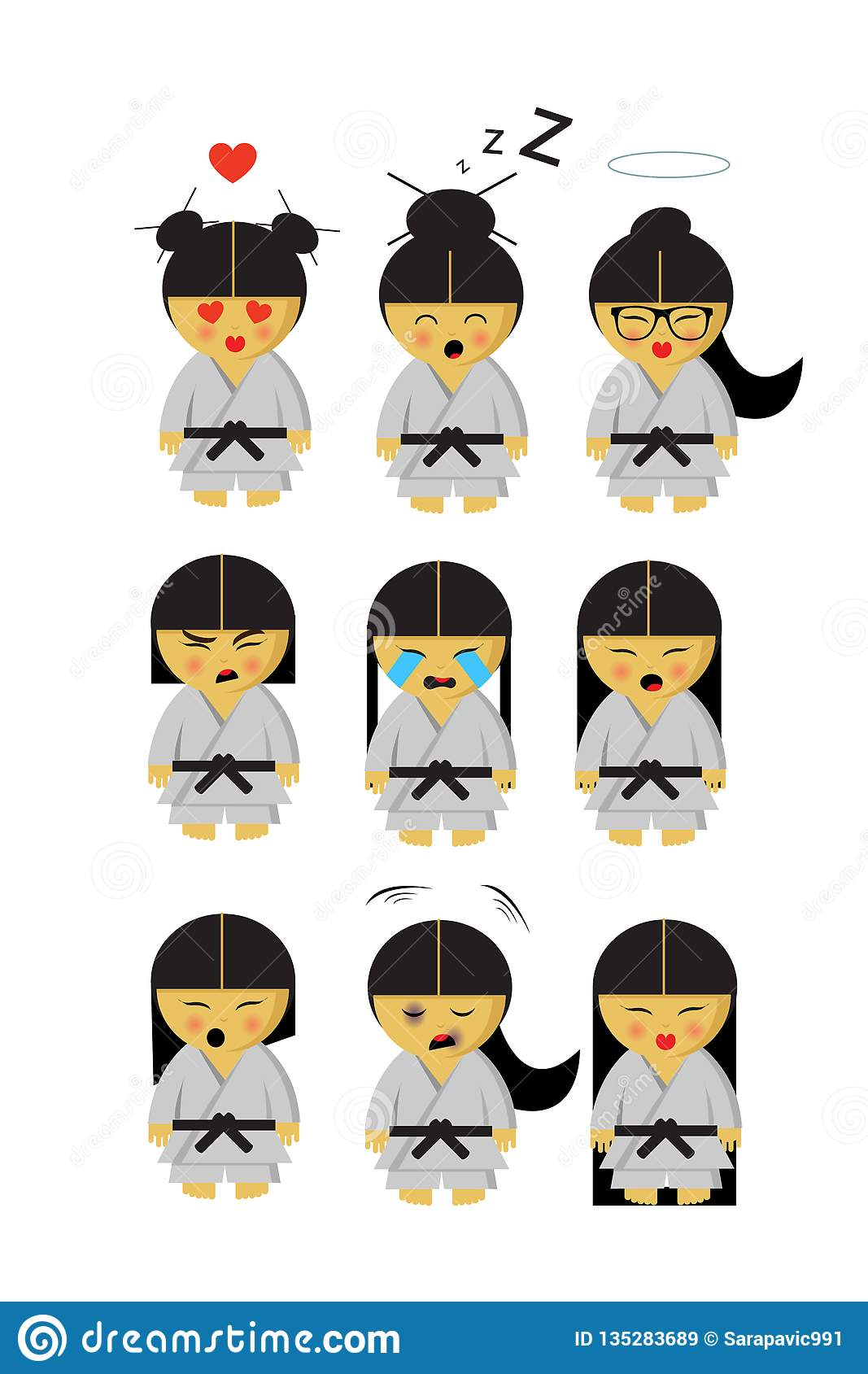 Little japanese karate girl in kimono and nine emotions