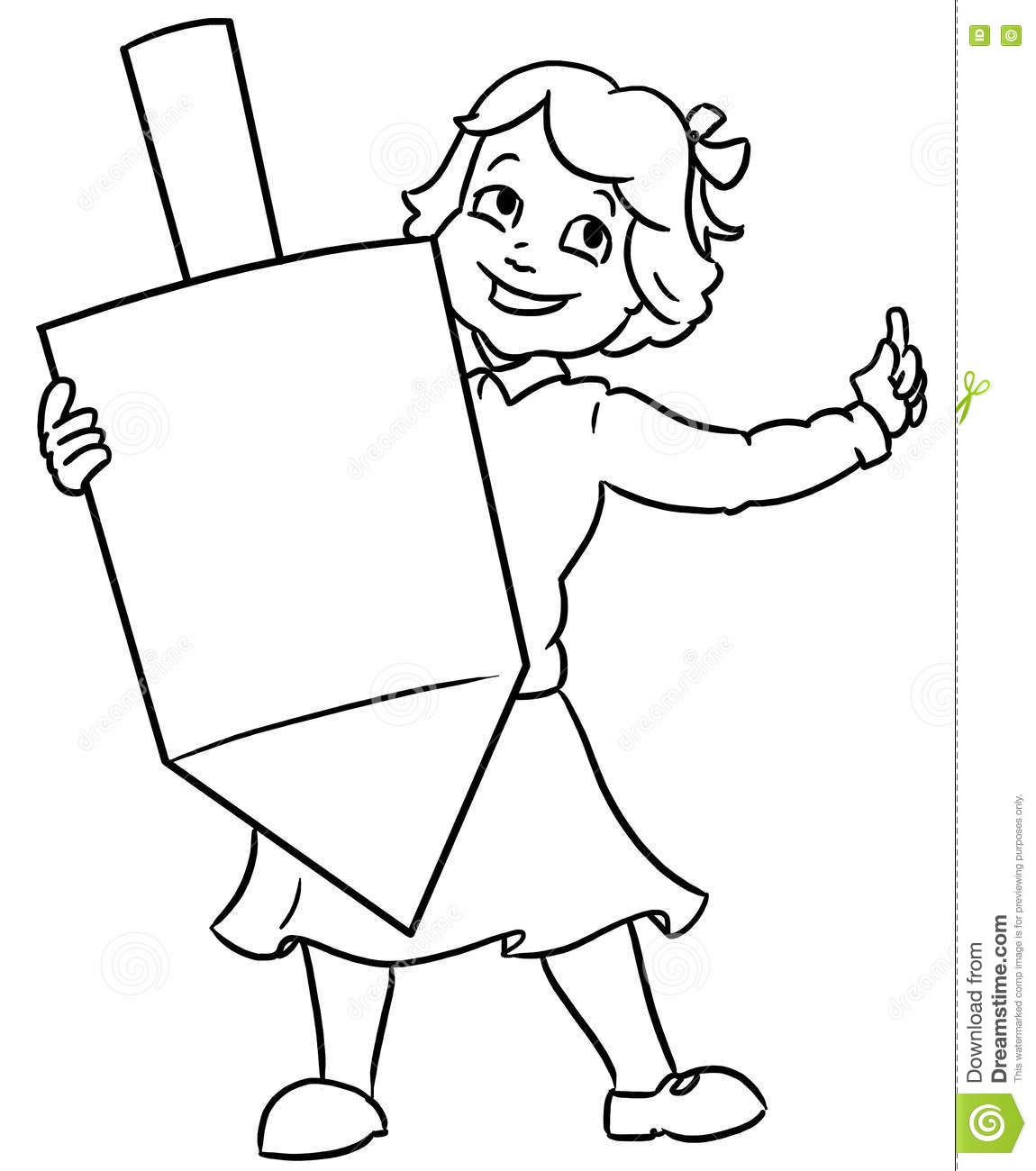 Little Jewixh Girl Holding Large Channuka Dreidel Stock Illustration