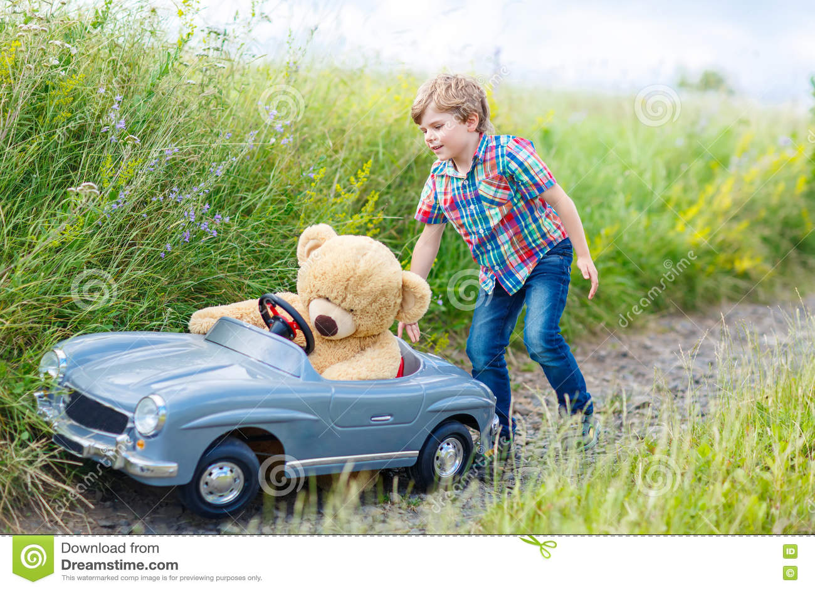 bear boy car child fun having kid landscape little