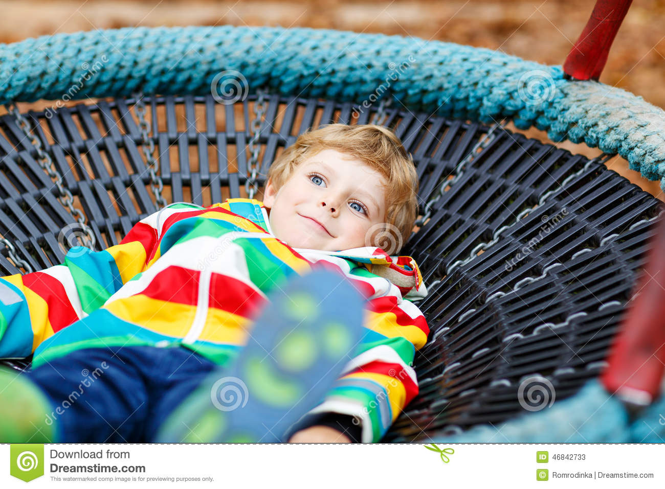 Little Kid Boy Having Fun On Autumn Playground Stock Photo ...