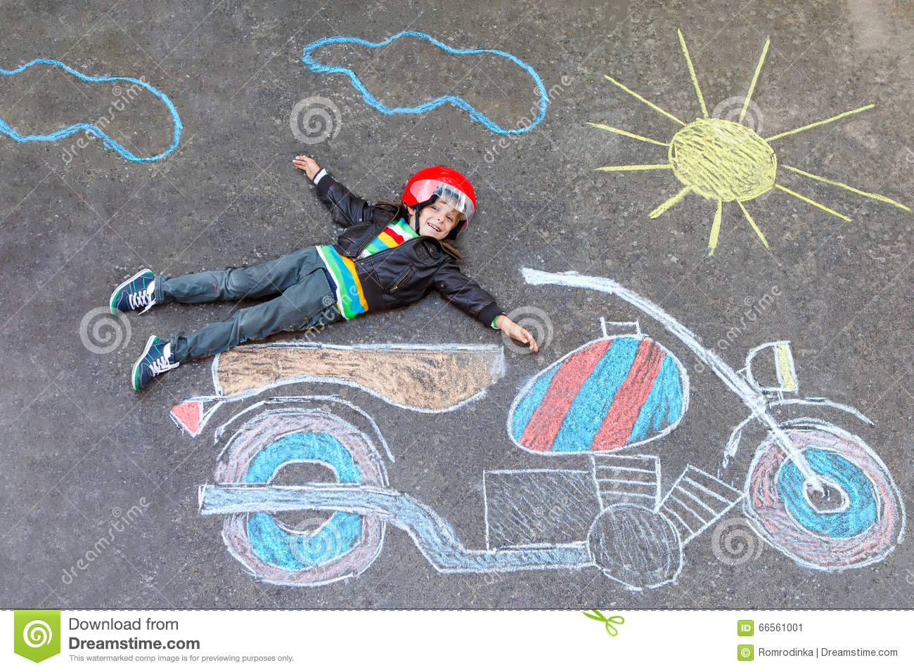 Little Kid Boy In Helmet With Motorcycle Chalk Picture Stock Image ...