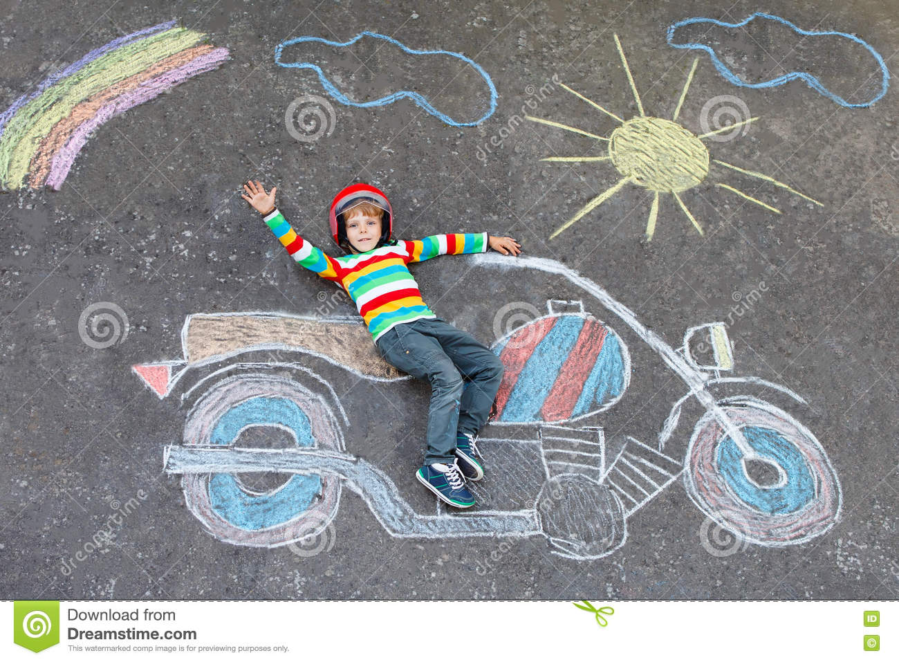 Little Kid Boy In Helmet With Motorcycle Chalks Picture Stock Image ...