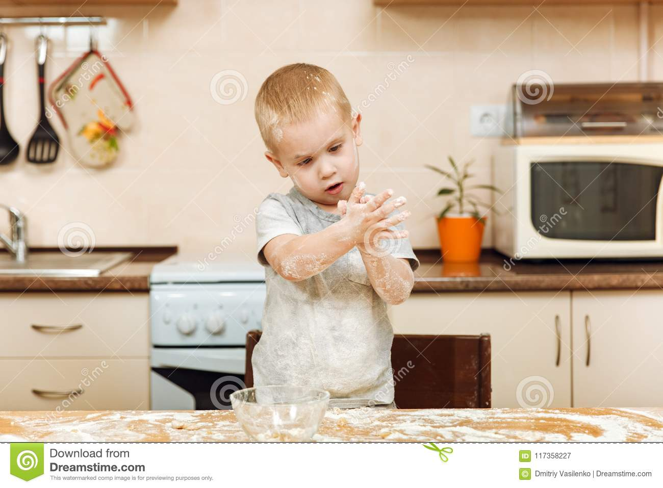 Little Kid Boy Helps Mother To Cook Ginger Biscuit  Happy