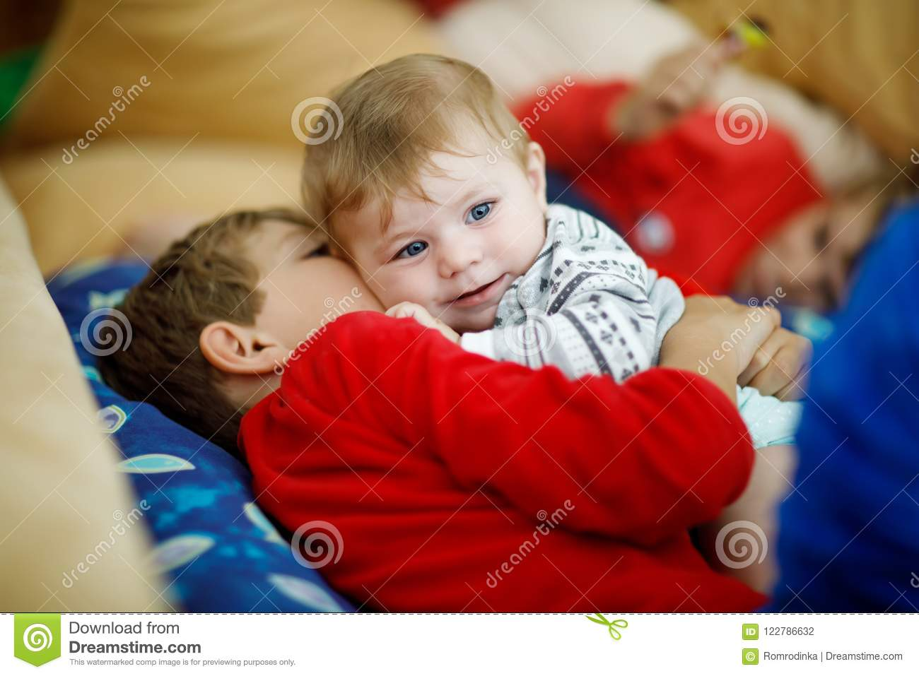 5dd8e46de60d Little Kid Boy Hugging With Newborn Baby Girl