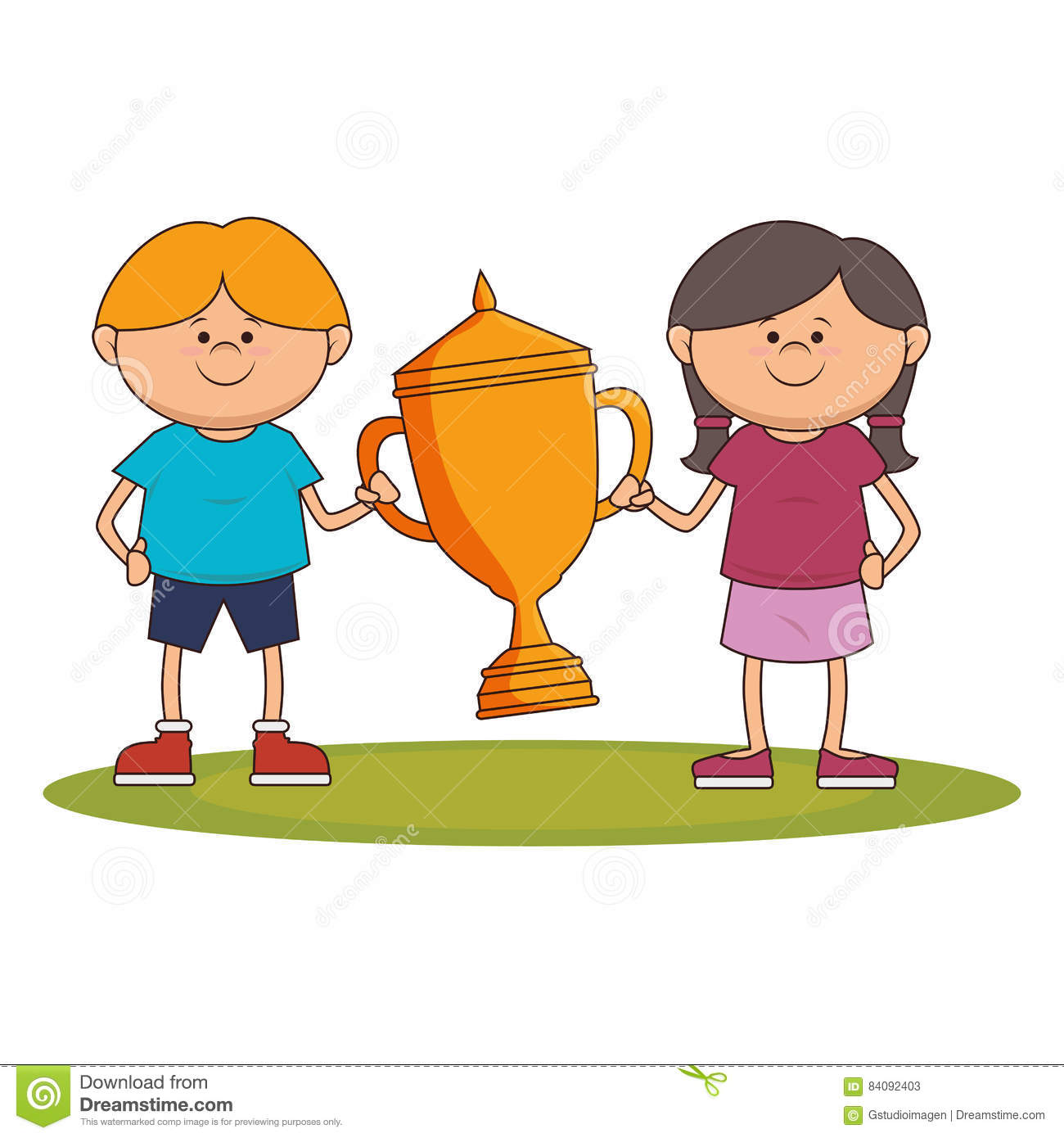 Download Little Kid With Champion Trophy Stock Illustration