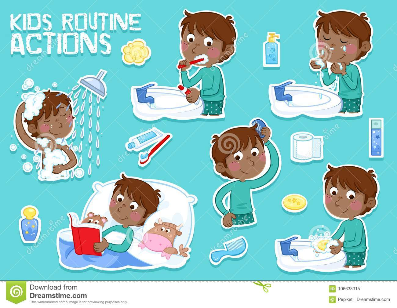 Little Kid With Dark Brown Hair And His Daily Routine Cartoon