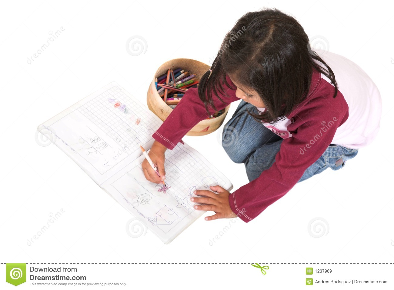 Little Kid Drawing Pictures Stock Image - Image of colours ...