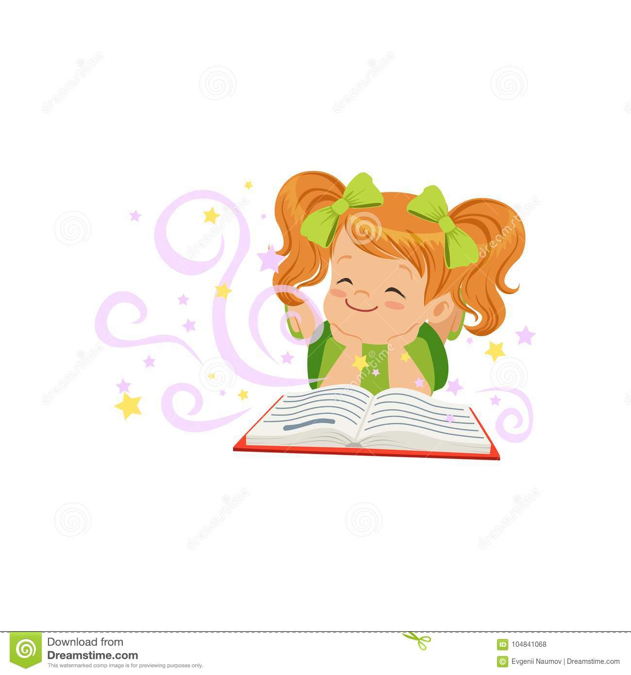 Little kid lying with magic book and dream of fairy tale. Children imagination concept. Flat baby girl character