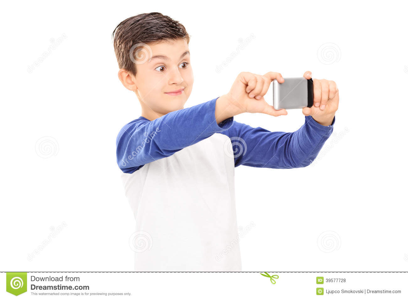 ... kid taking a selfie with cell phone isolated on white background