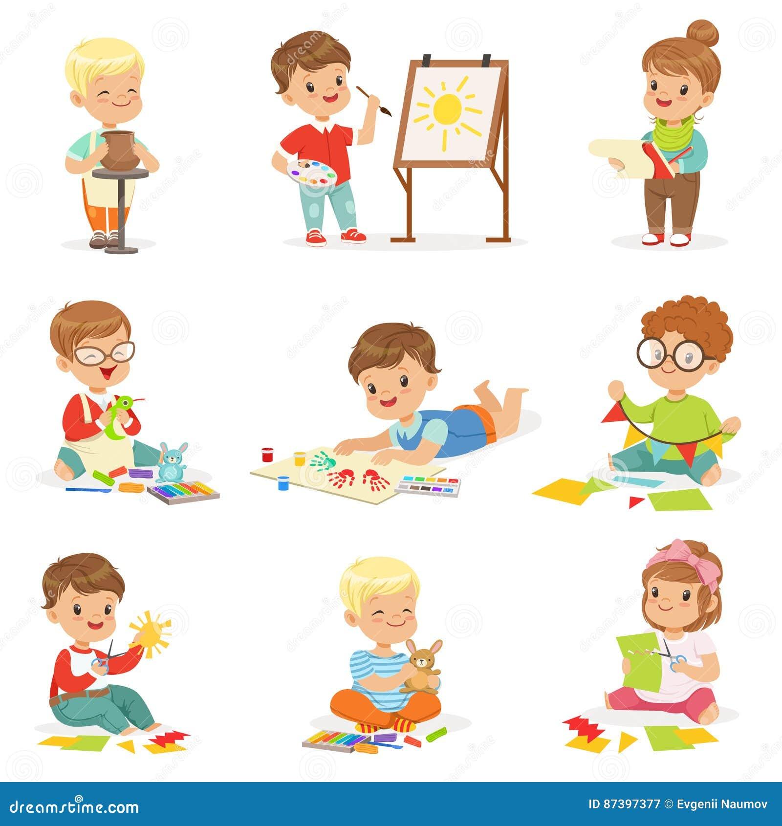 Little Kids In Art Class In School Doing Different Creative