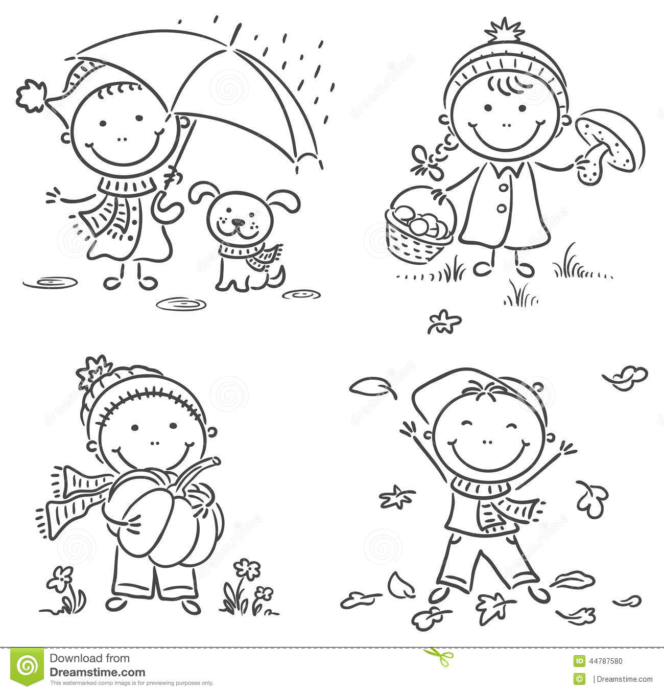 Little kids 39 autumn activities stock vector illustration for Actividades para jardin de infantes