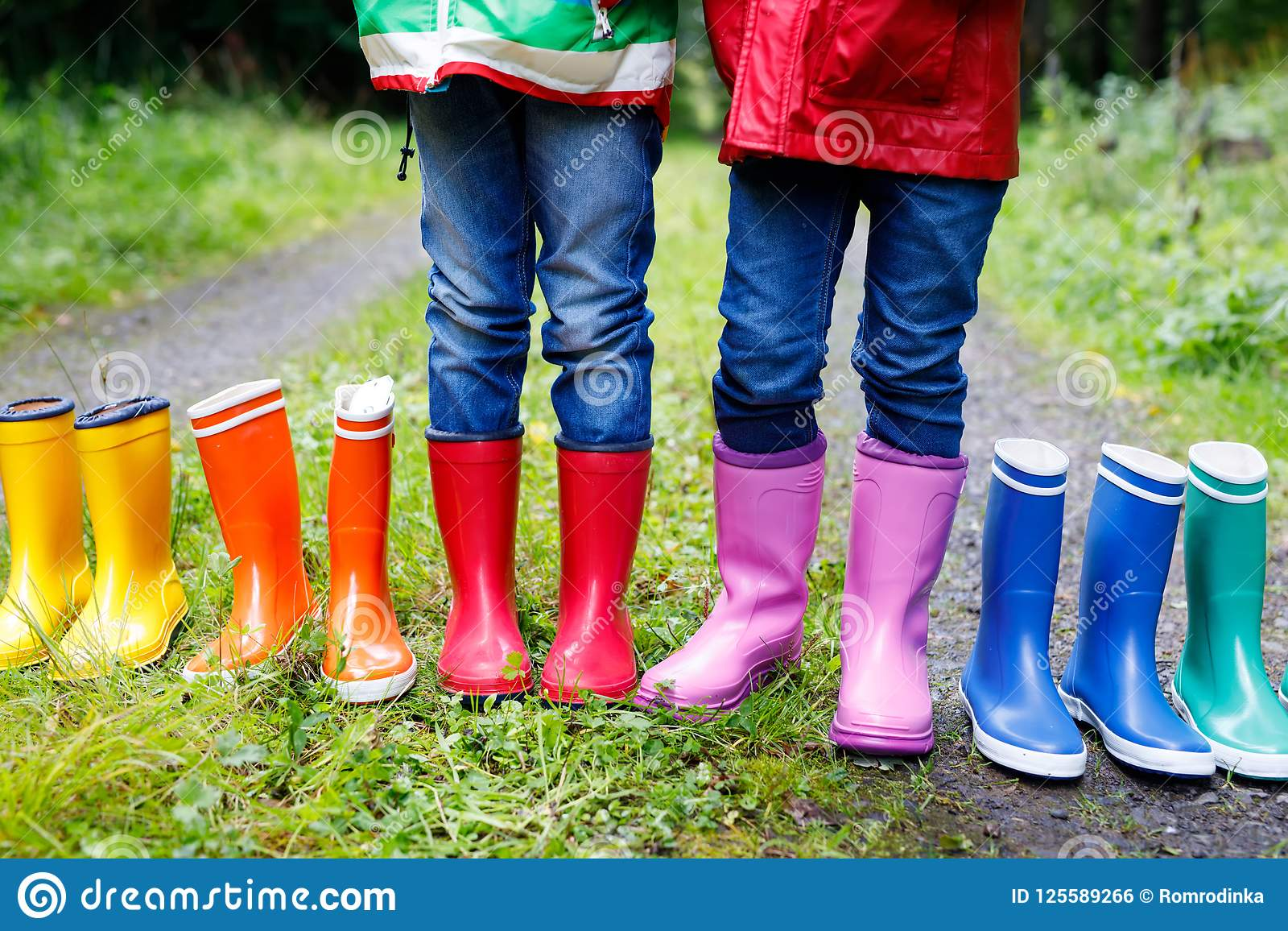 cheap prices the sale of shoes classic fit Little Kids, Boys And Girls In Colorful Rain Boots. Children ...