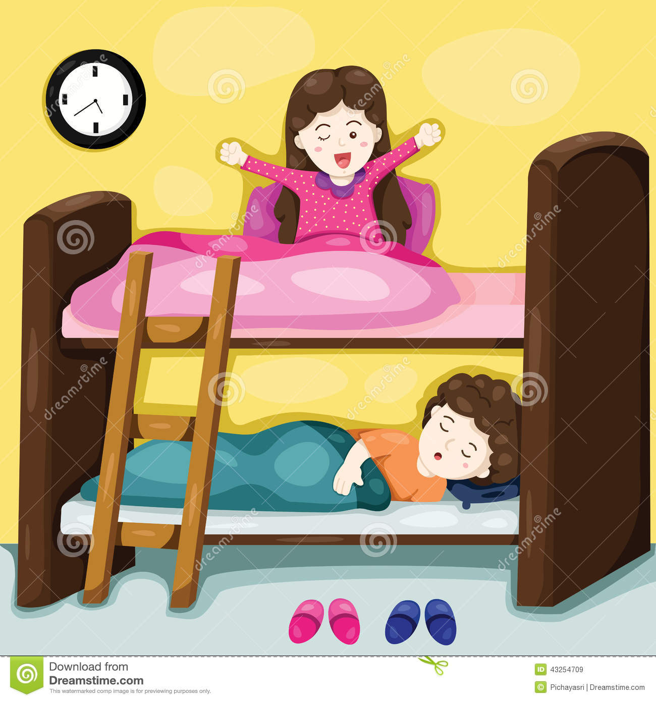 Little Kids On Bunk Bed Stock Vector Illustration Of Decorative 43254709