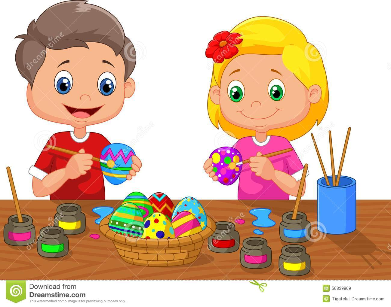 Little Kids Cartoon Painting Easter Egg Stock Vector - Illustration ...