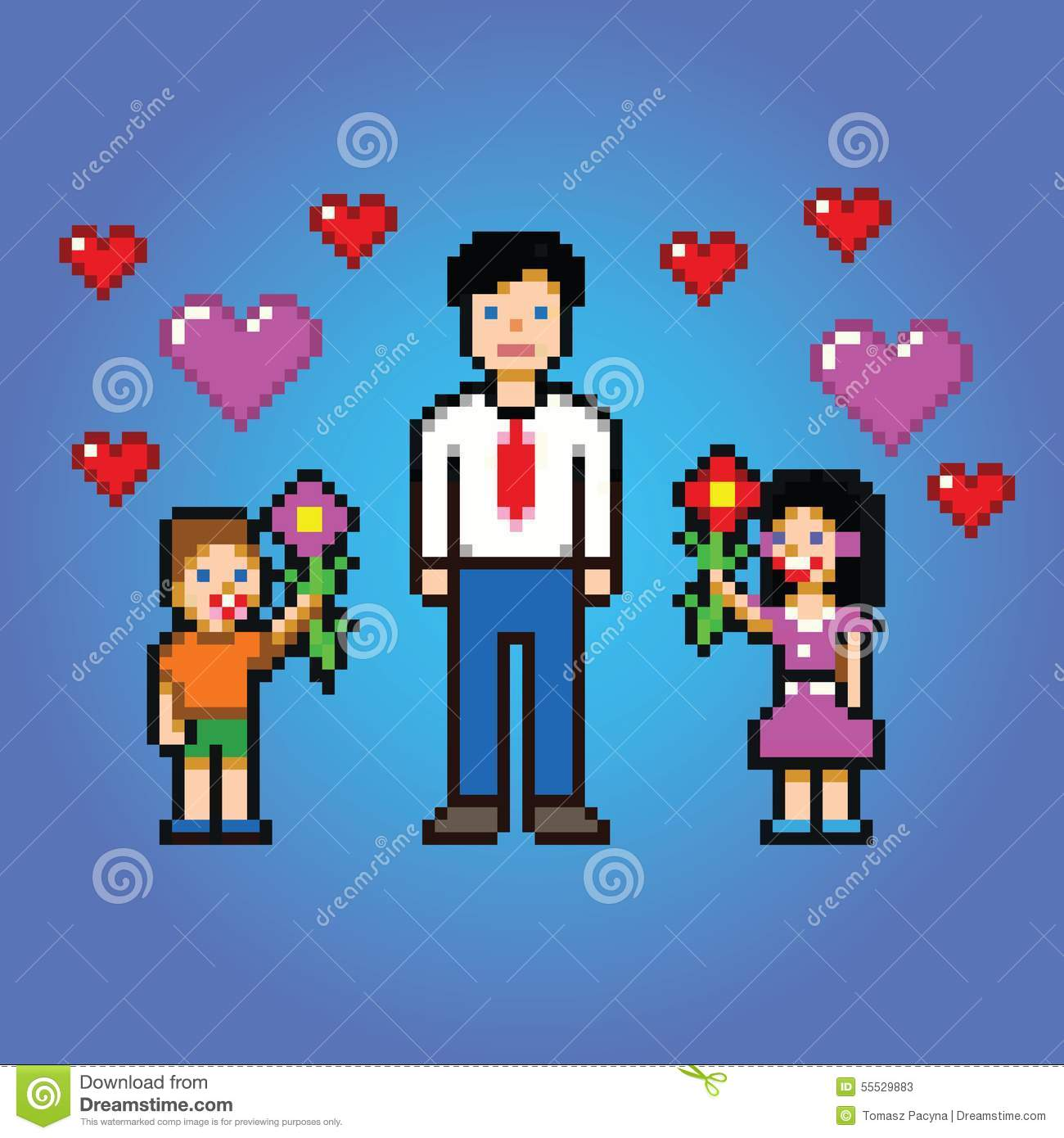Little Kids Gives Daddy Flowers - Pixel Art Style Vector Stock ...