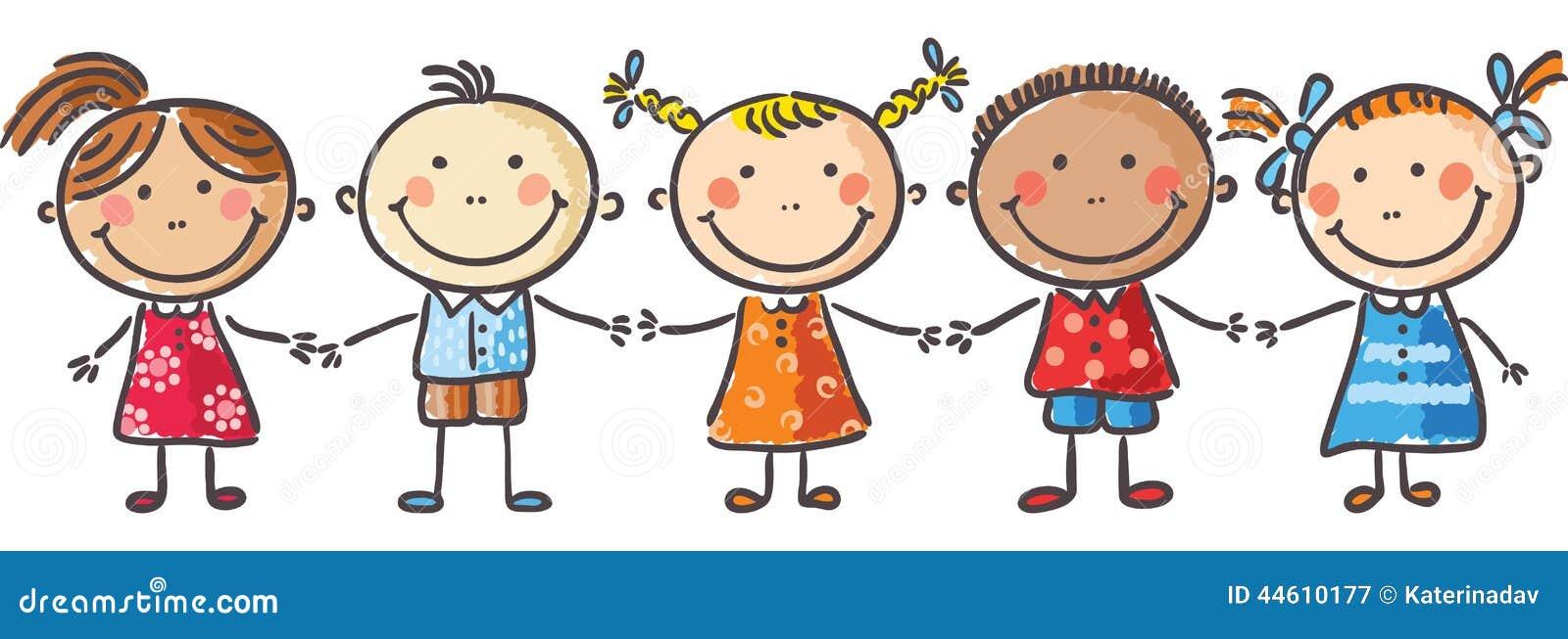 Little Kids Holding Hands Stock Vector. Illustration Of