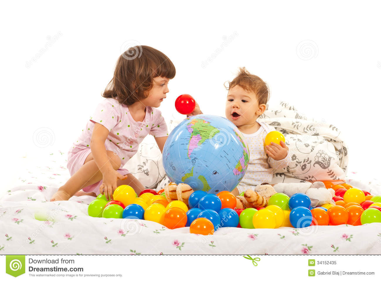 little kids playing with balls royalty free stock photo image 34152435. Black Bedroom Furniture Sets. Home Design Ideas