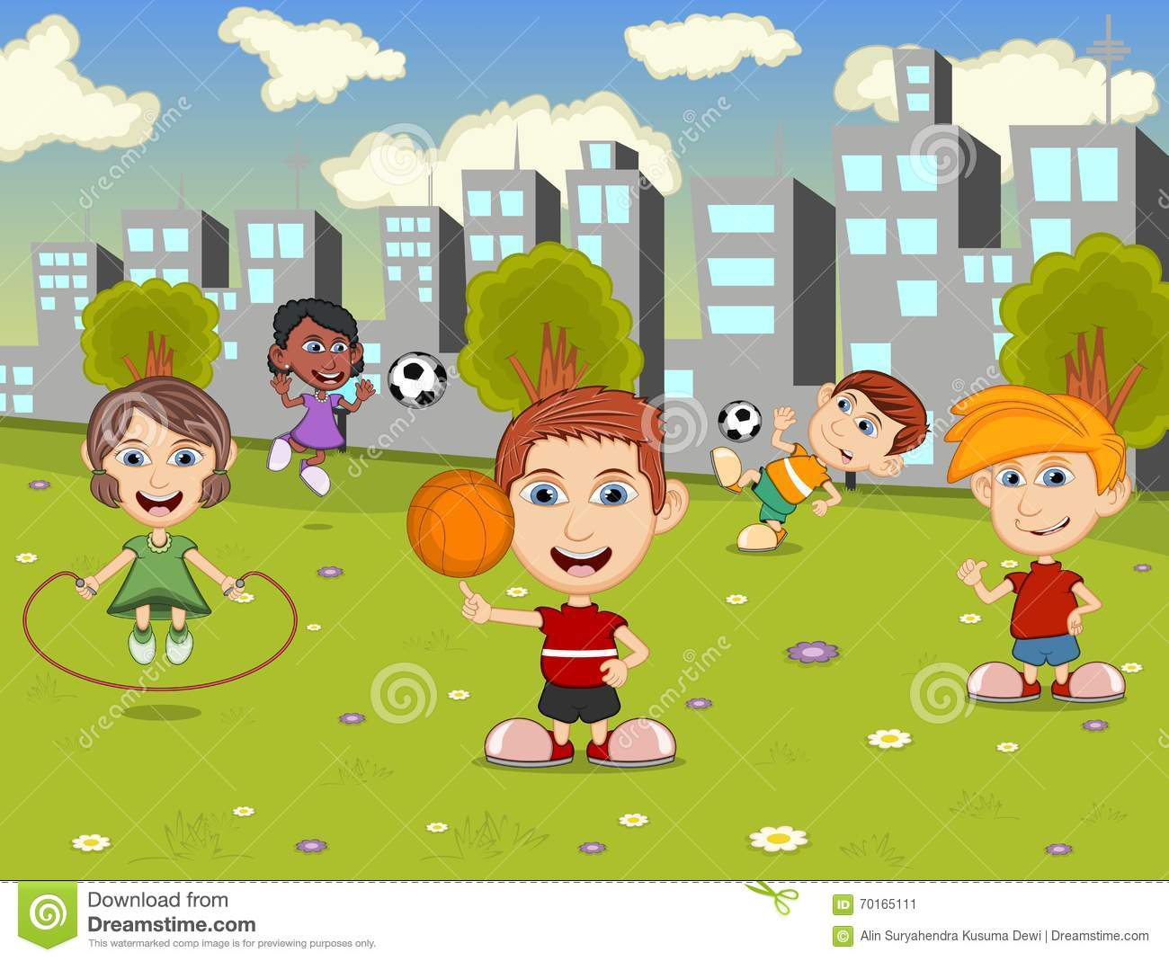 Outline Of Kids Playing Soccer